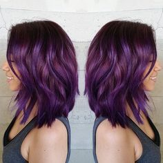 Purple hair color dressing a layered lob by Masey Cheveux hotonbeauty.com