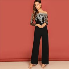 01310be262 Embroidery Sheer Mesh Off Shoulder Long Sleeve Straight Leg Jumpsuit