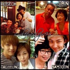 Some of the member's families. ^-^ ( Taehyung's mom is so gorgeous wow! :o )