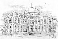 Jiwasraya Semarang Pencil Sketch