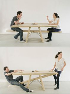 Designer Marleen Jansen created the See-Saw Table to ensure all diners stay at the table until everyone is finished eating. I dunno something about courtesy and cooperation