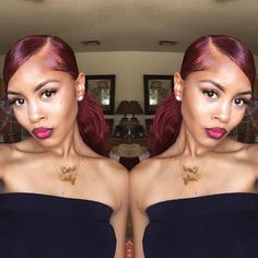 dope, burgundy hair, and slay image Ponytail Styles, Sleek Ponytail, Curly Hair Styles, Natural Hair Styles, Weave Hairstyles, Girl Hairstyles, Relaxed Hairstyles, Pelo Afro, Hair Laid