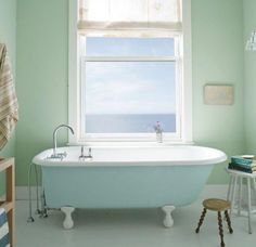 Look at the paint color combination I created with Benjamin Moore. Via Wall: Palladian Blue Trim: Distant Gray Tub: Breath of Fresh Air Best Interior Paint, Interior Paint Colors, Paint Colors For Home, Interior Design, Paint Colours, Interior Walls, Bathroom Interior, Grey Bathrooms, White Bathroom