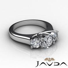 Round Diamond 3 Stone Designer Engagement Ring GIA I VS2 14k White Gold 1 5 Ct | eBay