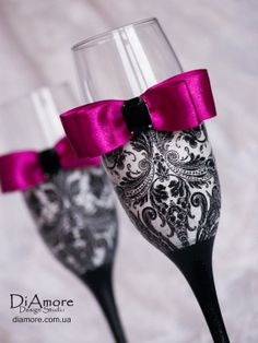 I like the pink bow and black jewel for other wedding projects. Personalized Wedding glasses from the collection by DiAmoreDS, $47.00