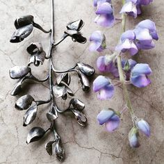 Hand fabricated lupine necklace, botanical jewelry by Nicole Ringgold