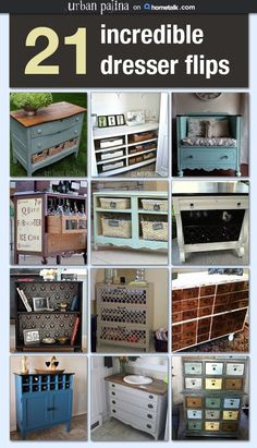 Repurposed Dresser Inspiration – Incredible Dresser Flips Idea Box by Crystal @ Urban Patina - DIY Furniture Bedroom Ideen Refurbished Furniture, Repurposed Furniture, Furniture Makeover, Painted Furniture, Unique Furniture, Cheap Furniture, Diy Furniture Repurpose, Redoing Furniture, Vintage Furniture
