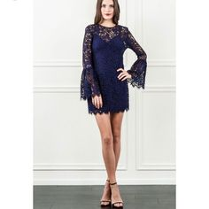 8104fb5ed48f Rachel Zoe Carter Bell Sleeve Dress Nwt In Navy Carters Dresses