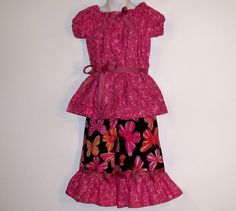 Girls  Capri SetButterfly with Peasant by Togs4TotsKidsClothes, $28.00