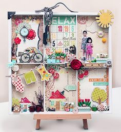 Memory tray on miniature easel..note children/ photoshop family pics & shrink to fit