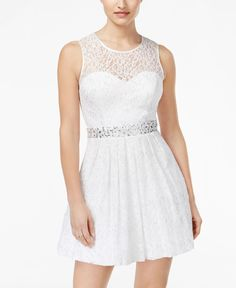 Bejeweled and bedecked in allover lace, B Darlin's fit & flare dress is a shining scene-stealer for a party or a social occasion. | Nylon/rayon/metallic; trim and lining: polyester | Hand wash | Impor