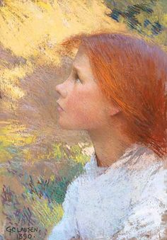 Sir George Clausen (1852-1944) Head of a Young Girl (Rose Grimsdale) signed and dated 'G CLAUSEN/1890′ (lower left) pastel on paper 13½ x 9¼ in. (34.3 x 23.5 cm.)