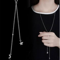Buy Anenjery 925 Sterling Silver Jewelry Crystal Zircon Stars Moon Long Statement Chain Necklace For Women collares Long Pendant Necklace, Arrow Necklace, Silver Stars, Minimalist Jewelry, Charm Jewelry, Sterling Silver Jewelry, Moon, Chain Necklaces, Fashion Women