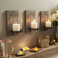 Barn wood Candles and mantle!