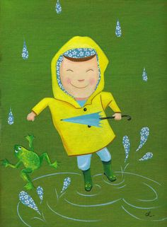 quenalbertini: Boy in the Rain by Christopher Lyles Walking In The Rain, Singing In The Rain, Rain Illustration, Puddle Jumping, Showers Of Blessing, I Love Rain, Rain Painting, Rain Art, Jr Art