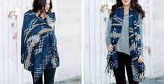 Oversized scarf/shawl wrap, aztec | jane.com $11.99, 100% acrylic (yuck)  *Love this look; find or make in cotton/wool