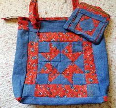 Bolsa e necesseire com jeans reciclado e patchwork. Artesã Eliane David. Curitiba em Paraná
