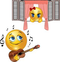 This smiley is in the mood for romance and is serenading his sweetie.