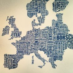 Gastronomy map of Europe #typography