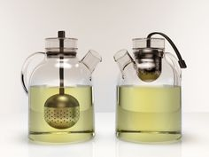 Designed by Norm Architects. Glass teapot with tea infuser that hangs by a silicone string, serving as a stylish teabag in the middle of the teapot. Glass Teapot, White Cups, Scandi Style, Tea Infuser, Muted Colors, How To Better Yourself, Popcorn Maker, Scandinavian Design, Minimalist Design