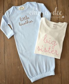 Stitched Little Brother/Big Sister Sibling Set by ChicADeeEmbroidery on Etsy https://www.etsy.com/listing/208331576/stitched-little-brotherbig-sister