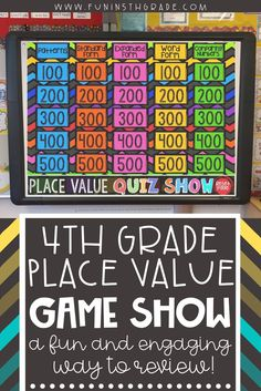 4th grade place value game show is a fun and engaging activity to review whole number place value skills!  This game is a PowerPoint game that is great for review & test prep!  Works on patterns, standard form,expanded form, word form and comparing numbers.  Students will cheer when you bring up this exciting math review game!  #placevalue #4thgrademath #math
