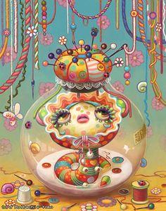 yoko d holbachie painting art illustration - 8 Art And Illustration, Illustrations, Art Pop, Fantasy Kunst, Fantasy Art, Arte Lowbrow, Art Kawaii, Kawaii Anime, Art Fantaisiste