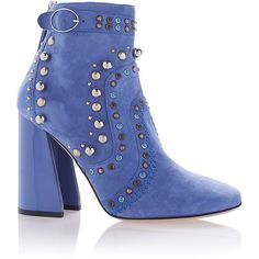 Paula Cademartori Blue Suede Thea Bootie ($1,095) ❤ liked on Polyvore featuring shoes, boots, ankle booties, blue suede boots, short boots, suede boots, square toe boots and blue suede booties