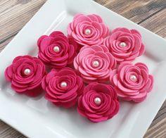 Wool Felt Flowers  Pretty in Pink   Set of 8 by KindallKrafts