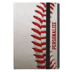 Baseball with Red Stitching and Personalized Name iPad Case #Baseball #Stitching #iPad #iPadmini #Cases