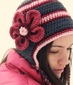 Crochet or Knit Adult Hat, Gray/Grey and Pink Winter Beanie, Hat with Earflaps and Flower---Women Girl Baby Child Toddler Teen Adult
