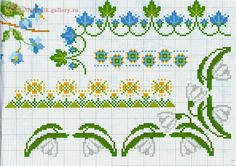 cross stitch border with white and blue flowers - free cross stitch patterns crochet knitting amigurumi 123 Cross Stitch, Cross Stitch Borders, Cross Stitch Flowers, Cross Stitch Charts, Cross Stitching, Cross Stitch Embroidery, Cross Stitch Patterns, Knitting Patterns, Blackwork