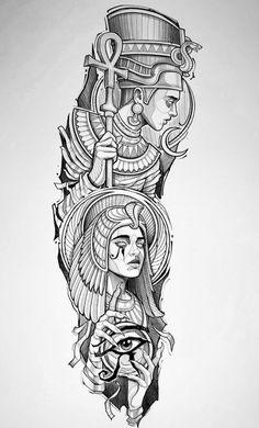 Egypt Tattoo Design, Tattoo Design Drawings, Tattoo Sleeve Designs, Tattoo Sketches, Sleeve Tattoos, Egyptian Queen Tattoos, Egyptian Tattoo Sleeve, Egyptian Drawings, Forearm Tattoos