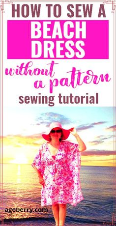 Need some beginner sewing projects? If you are looking for easy DIY beach dress for beginners free here is my sewing tutorial on DIY beach dress swimsuit cover. This is a step-by-step tutorial for sewing a beach dress (cover-up) with a simple free sewing pattern you can draw right on your fabric. Learn how to sew summer dress, how to make a dress step by step without a pattern, how to make dress cutting. Sewing For Beginners Diy, Sewing For Dummies, Sewing Basics, Dress Sewing Tutorials, Easy Sewing Patterns, Beach Coverup Pattern, Sewing Tape Measure, Learn To Sew, How To Make