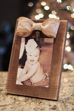 "DIY Burlap Bow Frame {Shanty-2-Chic}..""I made each of these frames for under $3 in supplies. CAN'T BEAT THAT!"""