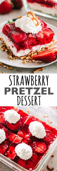 Strawberry Pretzel Dessert Recipe - Crunchy pretzel crust topped with a layer of sweet cream cheese with nuts and a delicious strawberry jello topping. The amazing combination of sweet, salty, creamy, and crunchy make this dessert a winner with any crowd. #mothersday #strawberries #cheesecake #pretzels #dessertrecipes