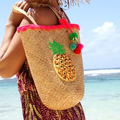 Cute soft straw tote bag, fully lined and decorated with sequins, whelks, beads and Pompons