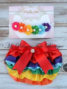 Ready To Ship Rainbow Satin Bloomer Set Baby Bloomers Cake Smash Bloomer Set Rainbow Baby Announcement, Rainbow Flowers, Princess Tutu, Baby Bloomers, Niece And Nephew, Cake Smash, First Birthdays, New Baby Products, Girl Outfits