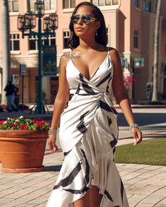 Women Ruffles Print Wrap White High Low Sexy Bodycon Dress - S Women's Fashion Dresses, Sexy Dresses, Chic Couture Online, Party Dresses For Women, Spaghetti Strap Dresses, Buy Dress, Dress To Impress, Plus Size Fashion, Bodycon Dress