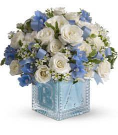 Crystal Block New Baby Boy Flowers by Enchanted Florist Pasadena - $58.95 - Keepsake crystal block perfect for the new baby boy in your life! #newbaby #babyblocks http://www.enchantedfloristpasadena.com/crystal-block-new-baby-boy-flowers/