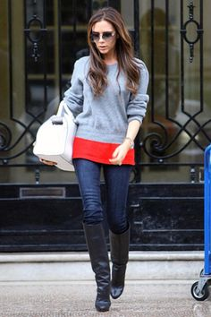 #Layers #Boots Ms.Beckham always lOOks soo good!