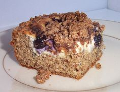 Recipe for low-carb sugar-free blueberry (or raspberry) cream cheese coffee cake made with sour cream. Wheat-free and gluten-free. Rich and yummy!