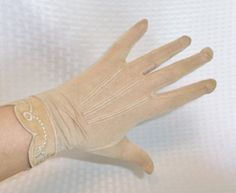 1930's Vintage Tan Silk Gloves with Embroidery by MyVintageHatShop, $13.00