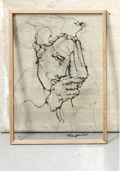 This portrait is made of threads, or with other words, it is freestitch embroidery sewn on water soluble fabric Art Inspo, Inspiration Art, Thread Painting, Thread Art, Textile Fiber Art, Textile Artists, Art For Sale Online, A Level Art, Sewing Art