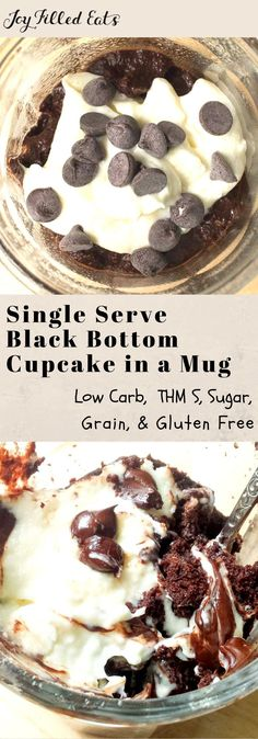 Single Serve Black Bottom Cupcake in a Mug - Low Carb, Grain Gluten Sugar Free, THM S, Fast, Easy - Warm chocolate cake + a rich cheesecake topping & melty chocolate chips? My Single Serve Black Bottom Cupcake tastes like heaven & is ready in about 5 min.