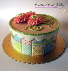 patchwork quilt cake- love the detail