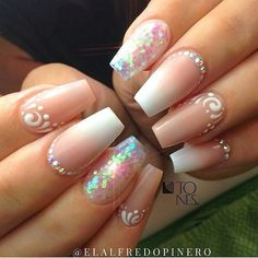 35 Simple Ideas for Wedding Nails Design Fancy Nails, Bling Nails, Love Nails, Nail Swag, Gorgeous Nails, Pretty Nails, Amazing Nails, Nagel Bling, Coffin Nails Matte