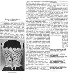I'm happy to be giving away a FREE e-pattern today for a crocheted corset cover from Isn't this just lovely? This is from the April, 1912 issue of Needlecraft Magazine and I rema… Vintage Crochet Dresses, Vintage Crochet Patterns, Vintage Knitting, Hand Knitting, Sewing Patterns, Crochet Ideas, Crochet Projects, Diy Corset, Mode Crochet