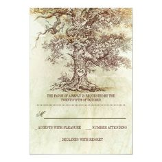 brown old tree rustic wedding RSVP cards Invites