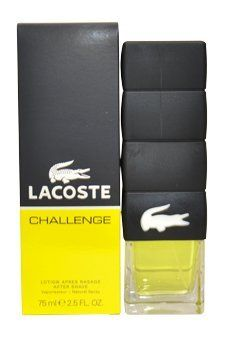 LACOSTE CHALLENGE by Lacoste for MEN: AFTERSHAVE SPRAY 2.5 OZ by Lacoste. $22.97. Recommended Use: casual. Fragrance Notes: tangerine, bergamot and lemon. Design House: Lacoste. LACOSTE CHALLENGE by Lacoste for MEN AFTERSHAVE SPRAY 2.5 OZ Launched by the design house of Lacoste in 2009. Save 45% Off!